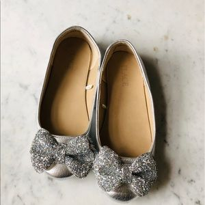 Metallic Silver Ballet Flats with Glitter Bows 2